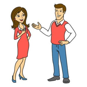 The man talking to a woman. Two people talking business. Vector illustration.